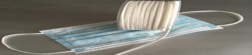 Ruban tresse élastique tubulaire Longueur 50 m Largeur 50 mm Blanc